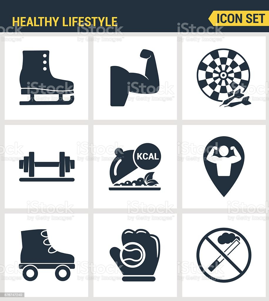Icons set premium quality of healthy lifestyle icon  collection gym vector art illustration