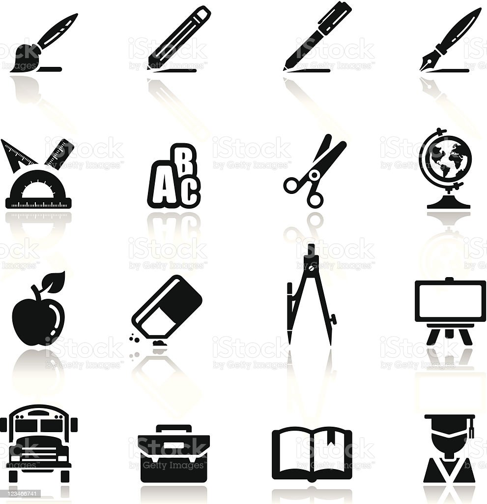 Icons set school vector art illustration