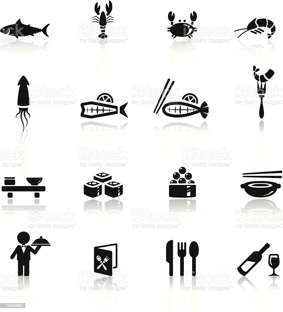 Icons set sea food vector art illustration