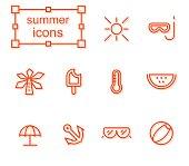 icons set, summer