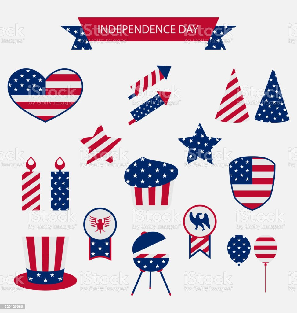 Icons Set USA Flag Color Independence Day 4th of July vector art illustration