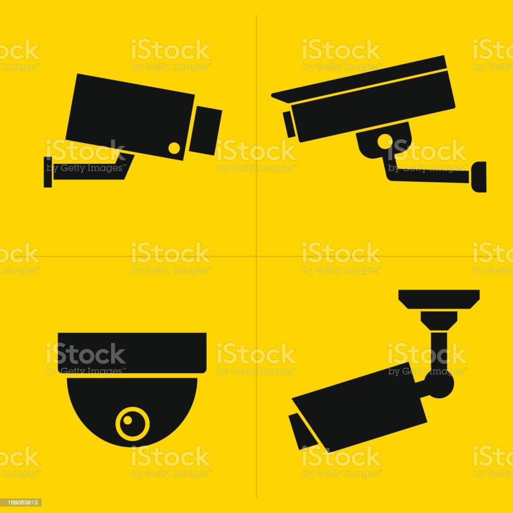 CCTV icons set vector art illustration