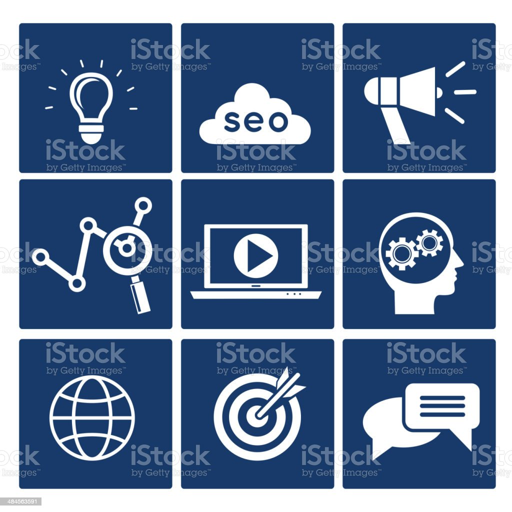 SEO icons set royalty-free stock vector art