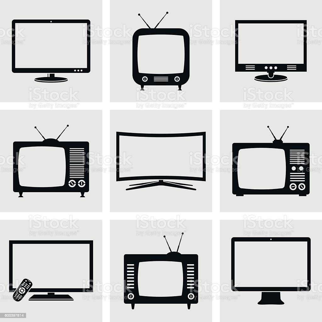 TV icons set vector art illustration