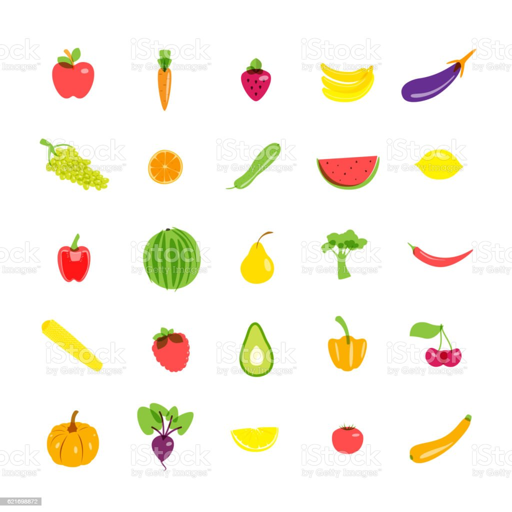 Icons set vegetarian products. Vector illustration. vector art illustration
