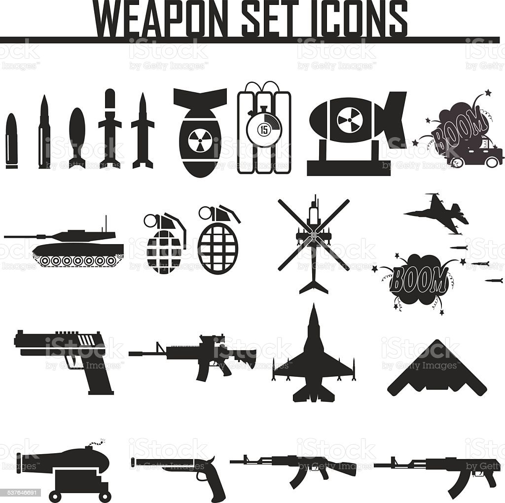 Icons set weapons, vector illustration vector art illustration