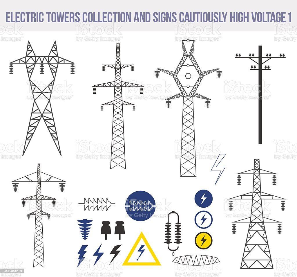 Icons set with electric towers isolated on white background. vector art illustration