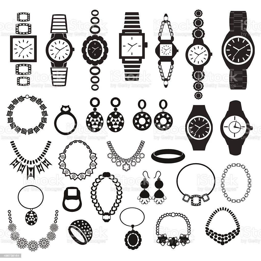 icons set with fashion watches and jewelry vector art illustration