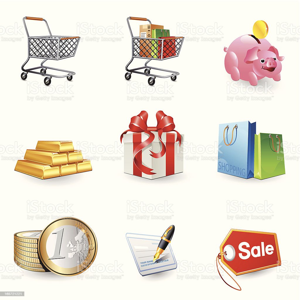 Icons - Shopping 3D series royalty-free stock vector art