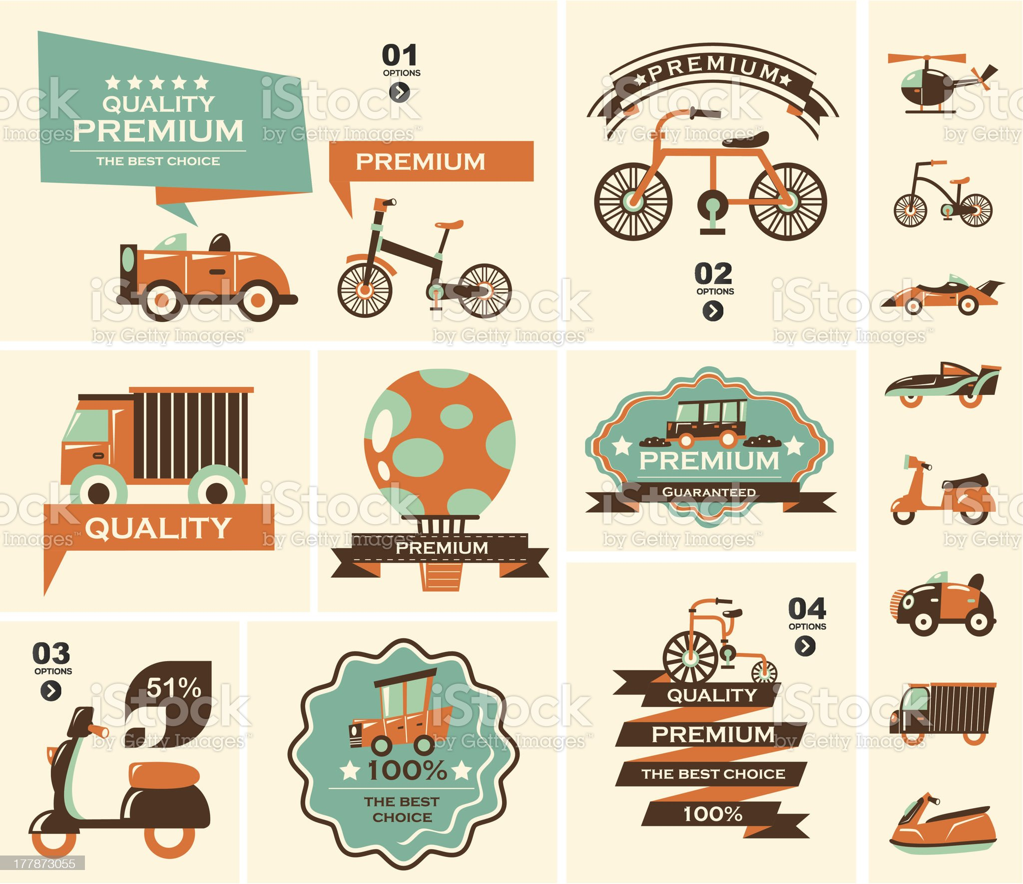 Icons showing different types of transportation royalty-free stock vector art
