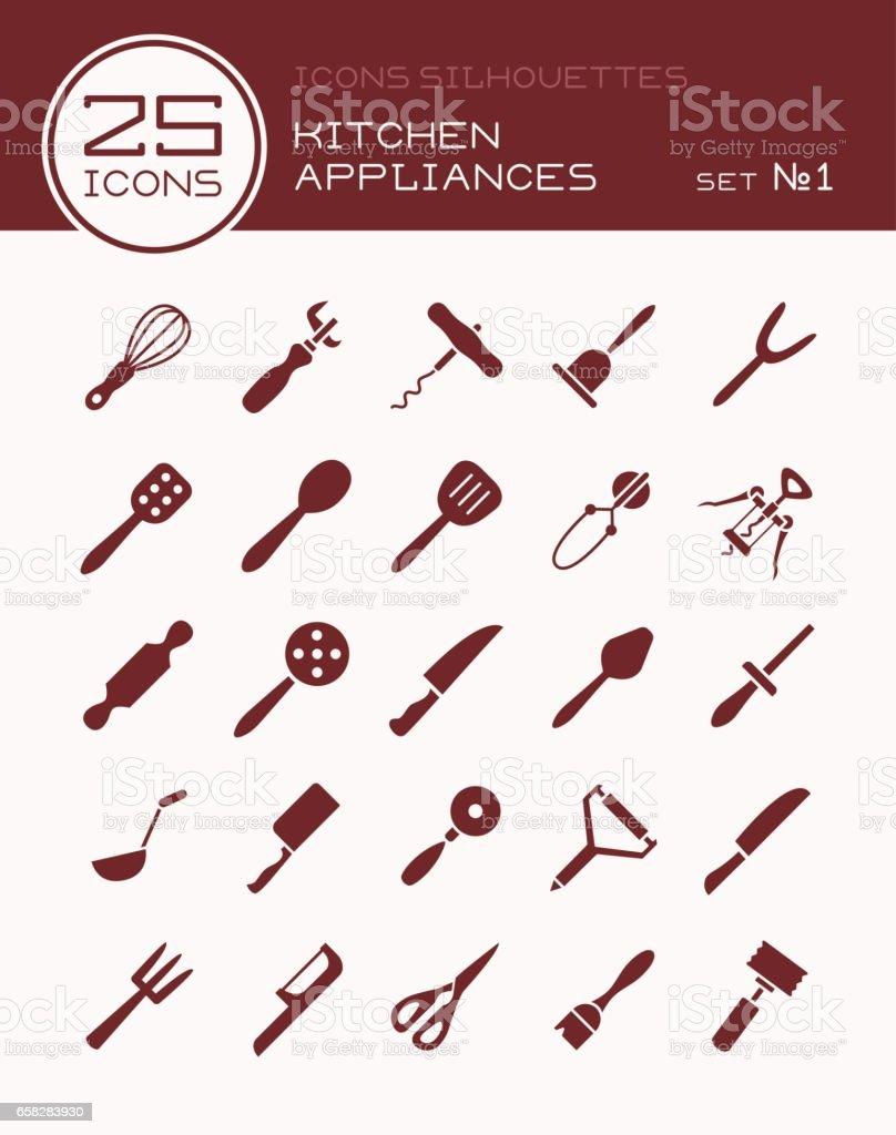 Kitchen Appliances On Credit Icons Silhouettes Kitchen Appliances Set 1 Stock Vector Art