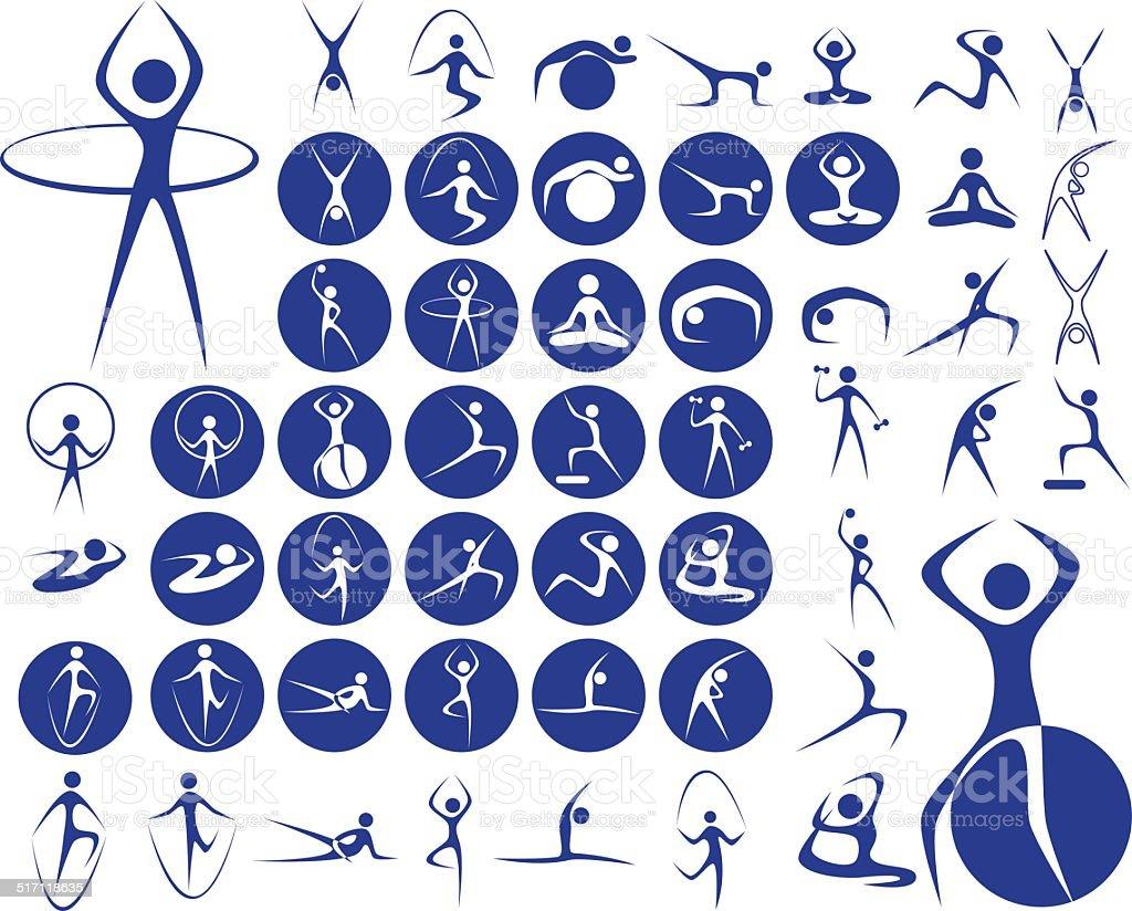icons sport fitness vector art illustration