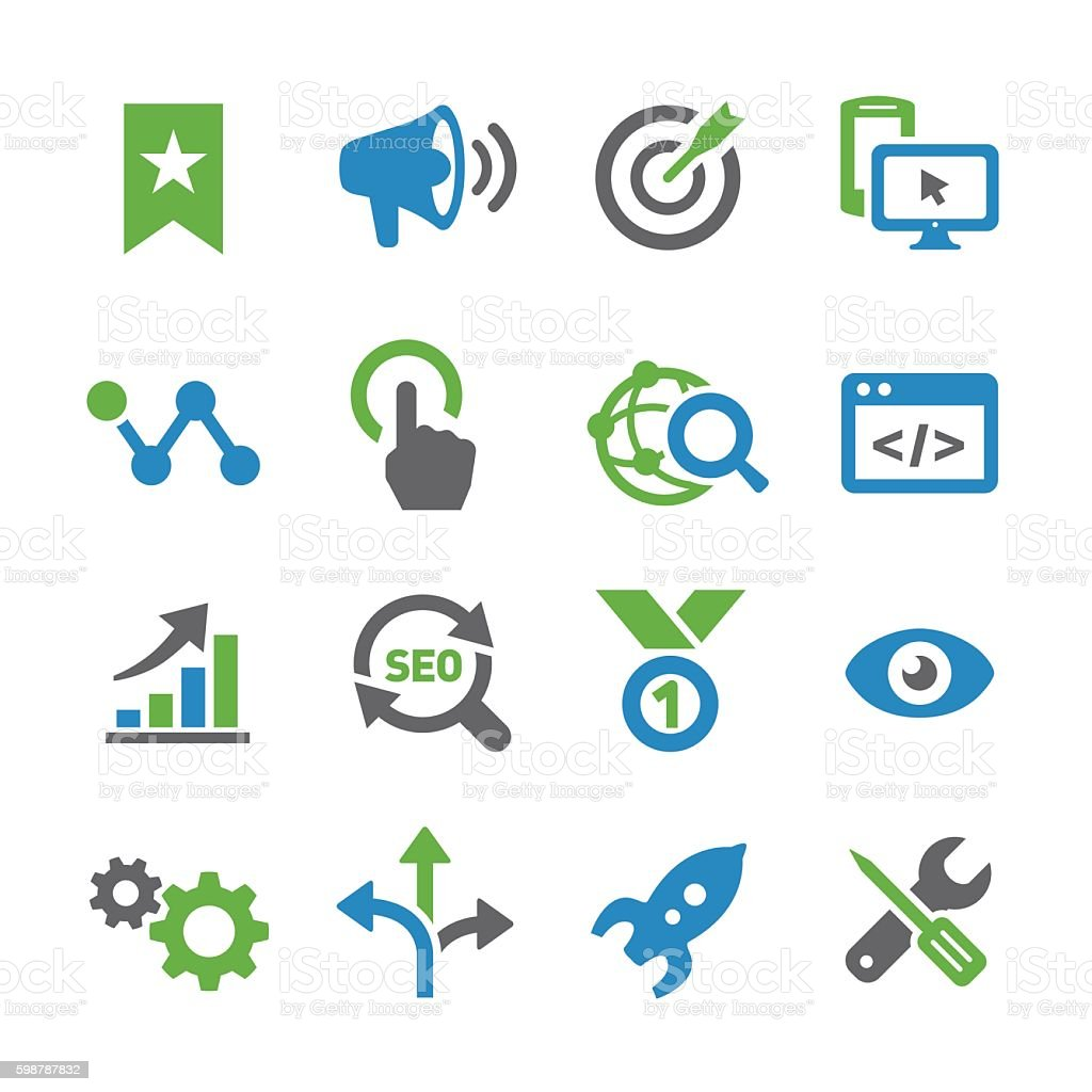 SEO Icons - Spry Series vector art illustration