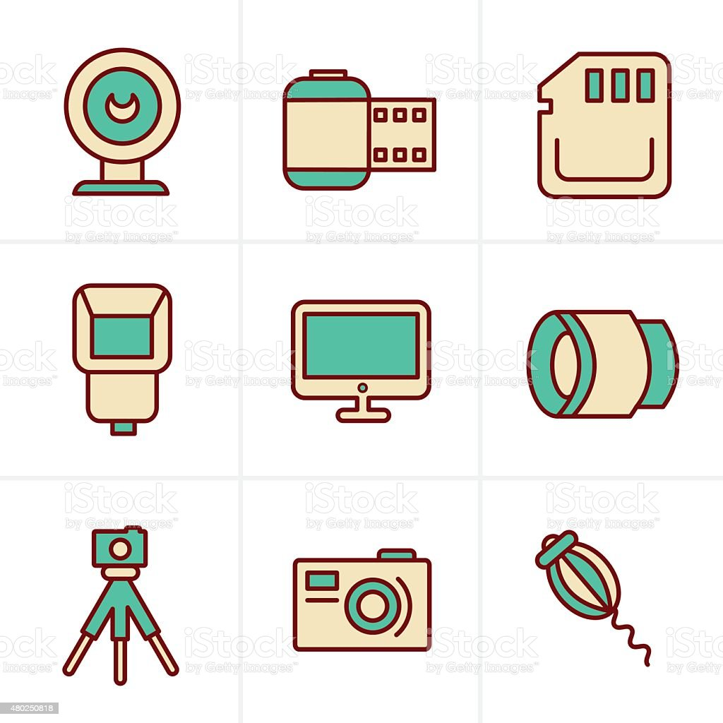 Icons Style  Photography Icons Set, Vector Design vector art illustration