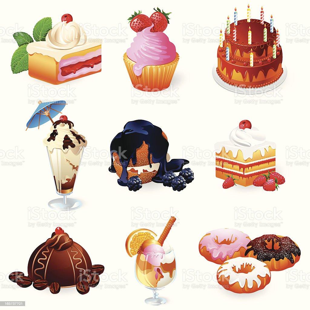 Icons - Sweet Food 3D series vector art illustration