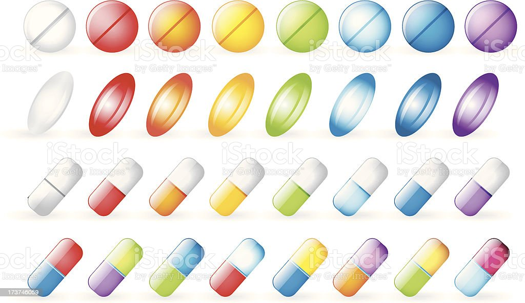 Icons tablets and pills royalty-free stock vector art