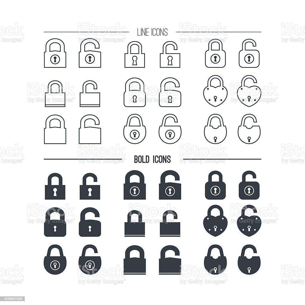 Icons the lock vector art illustration