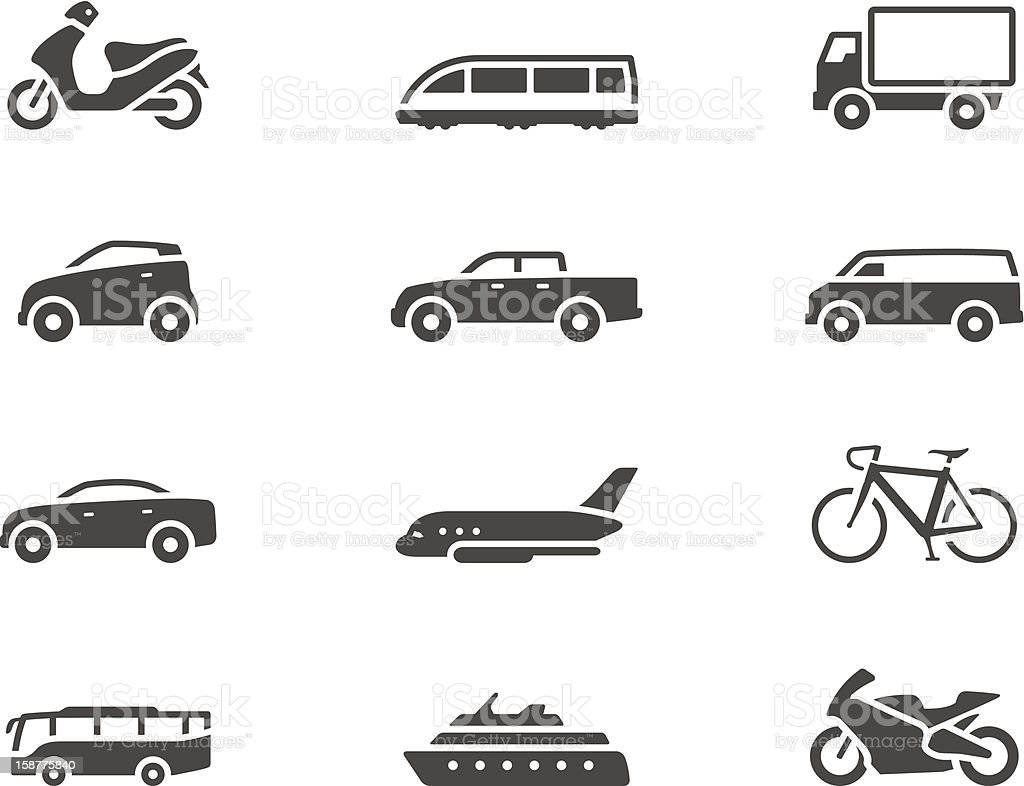 BW Icons - Transportation vector art illustration