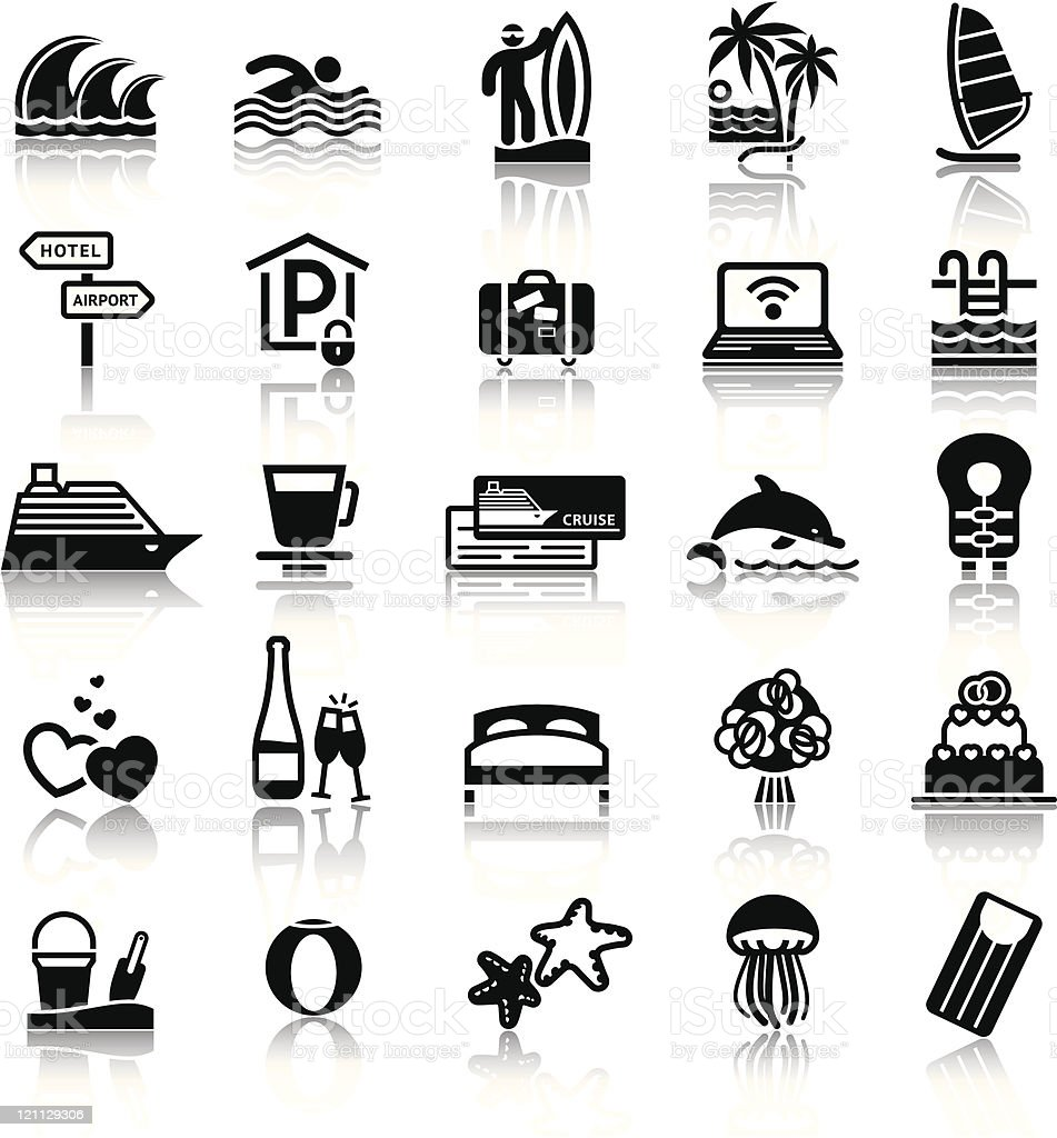 Icons - Vacation, Travel & Recreation. Black signs with reflection vector art illustration