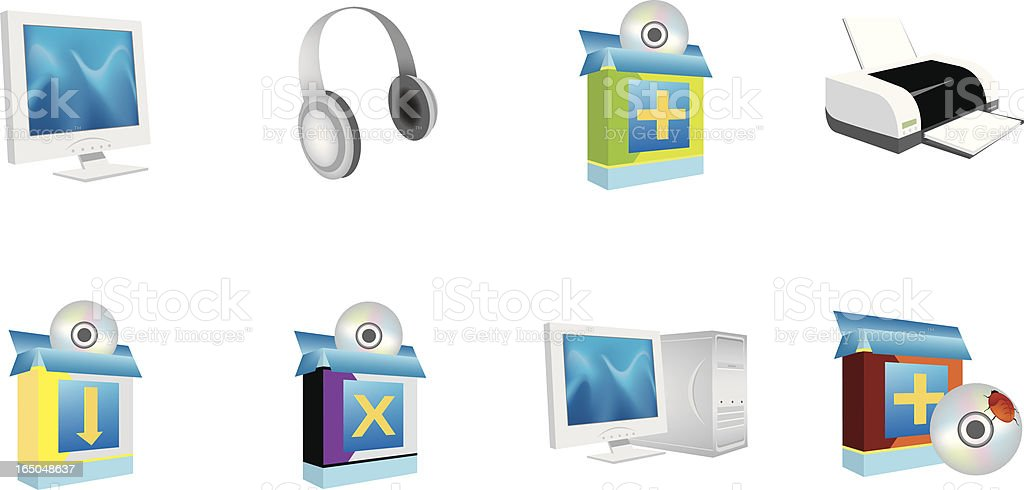 PC iCons vector art illustration