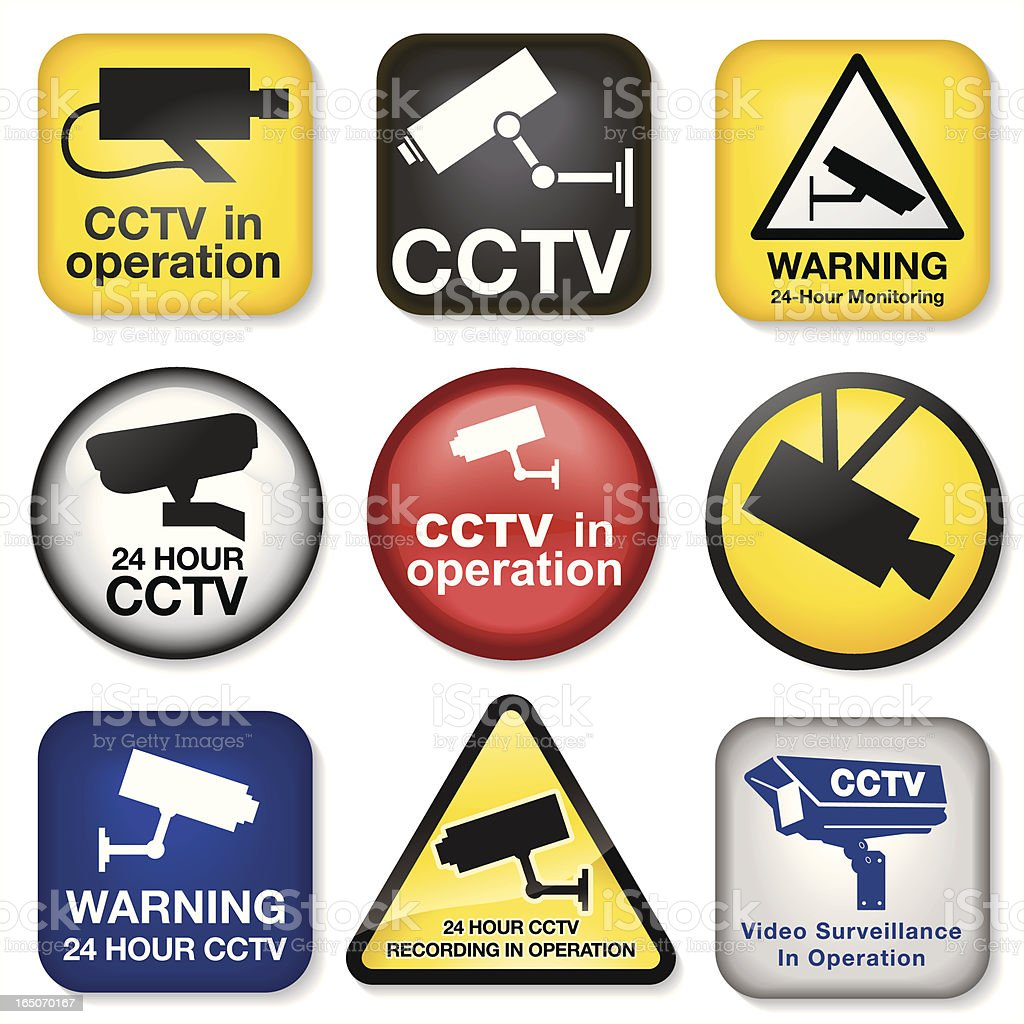 CCTV Icons vector art illustration