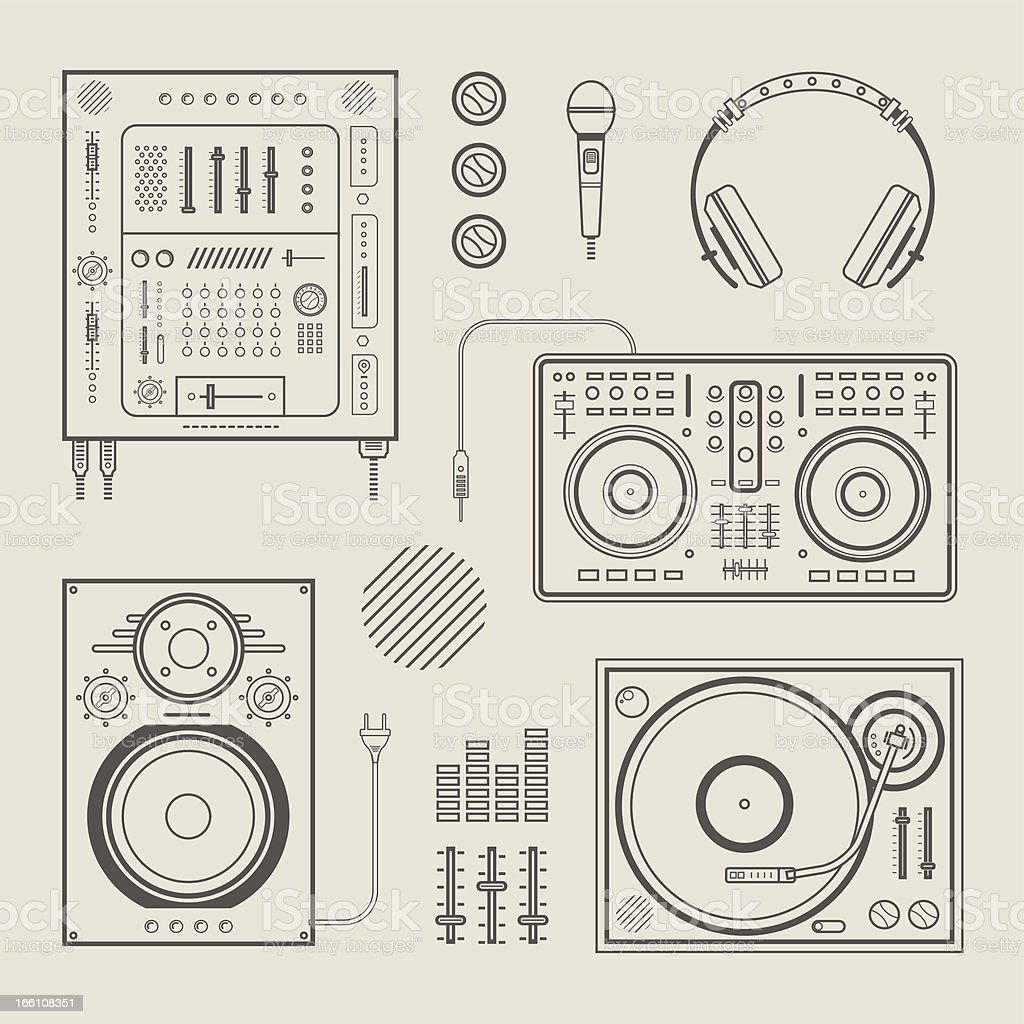 DJ icons vector art illustration