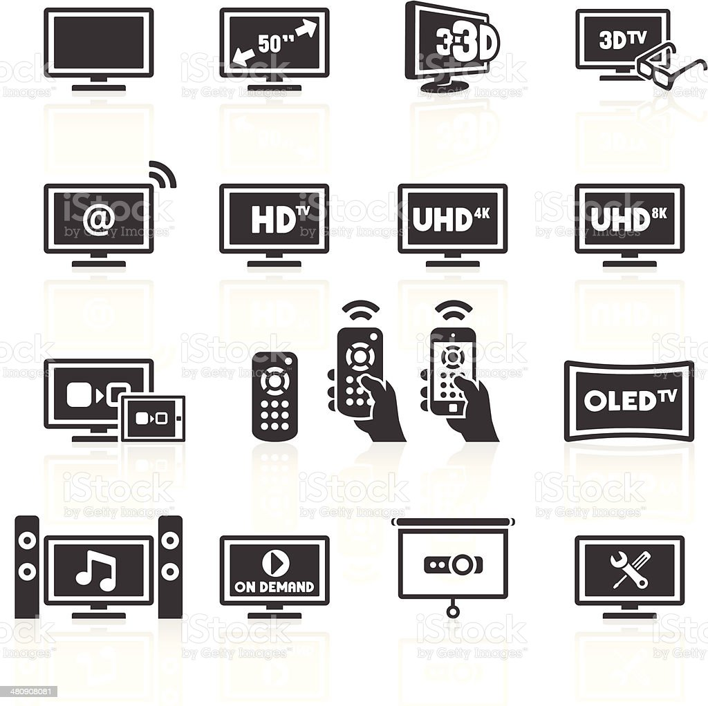 TV Icons vector art illustration