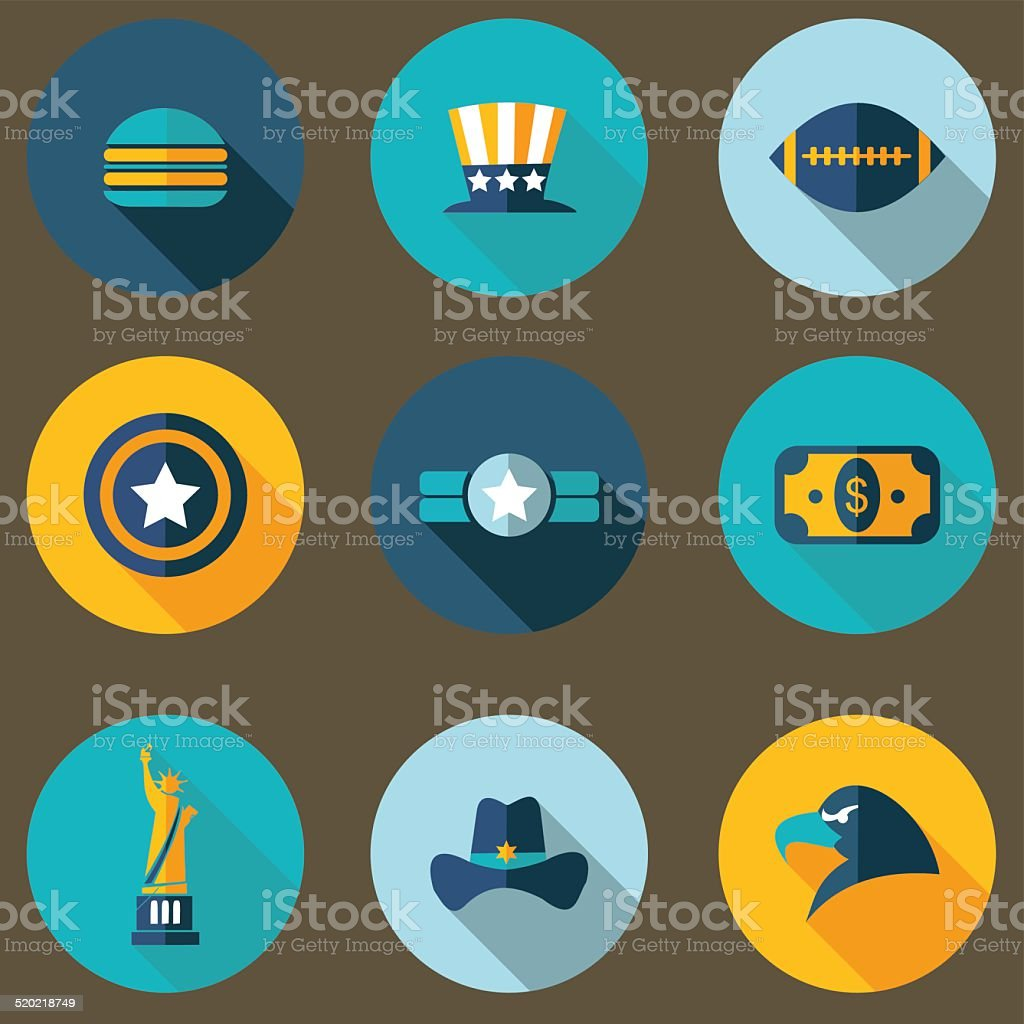 USA icons vector art illustration