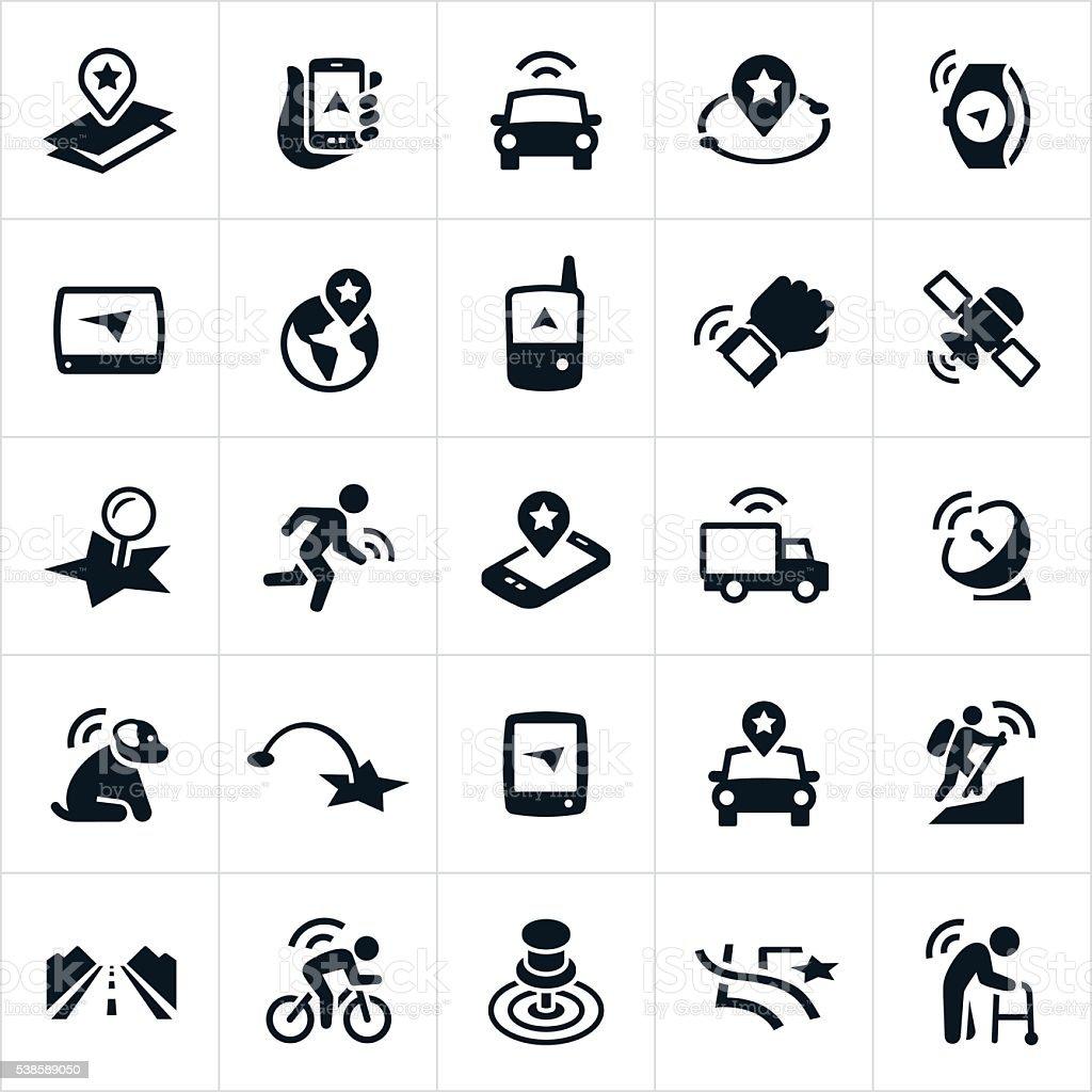 GPS Icons vector art illustration