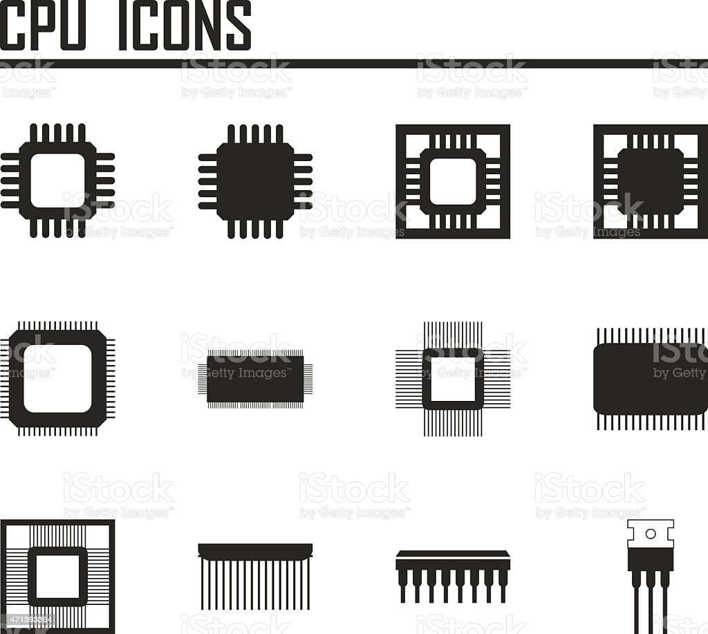 CPU icons. vector illustration eps 10. vector art illustration