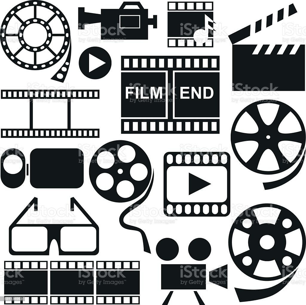 Icons videos, movies vector art illustration