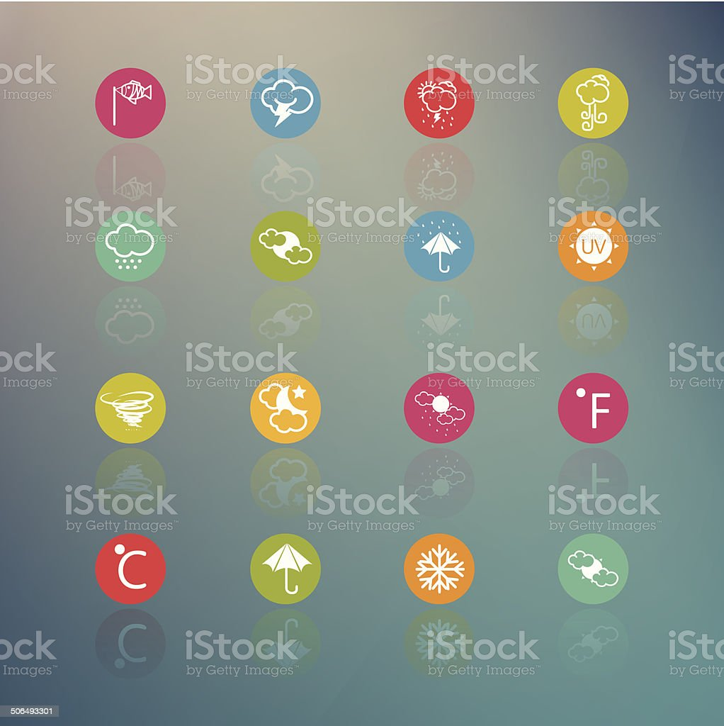icons weather  Circle Series on  Retina background - eps.10 royalty-free stock vector art