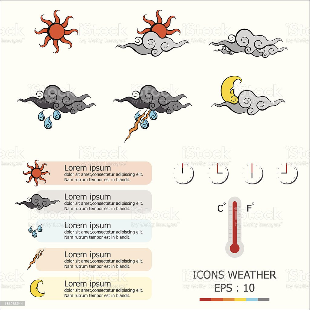 Icons Weather royalty-free stock vector art