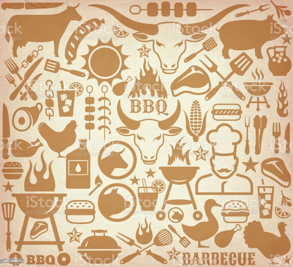Icons with barbecue symbols on brown paper background. vector art illustration