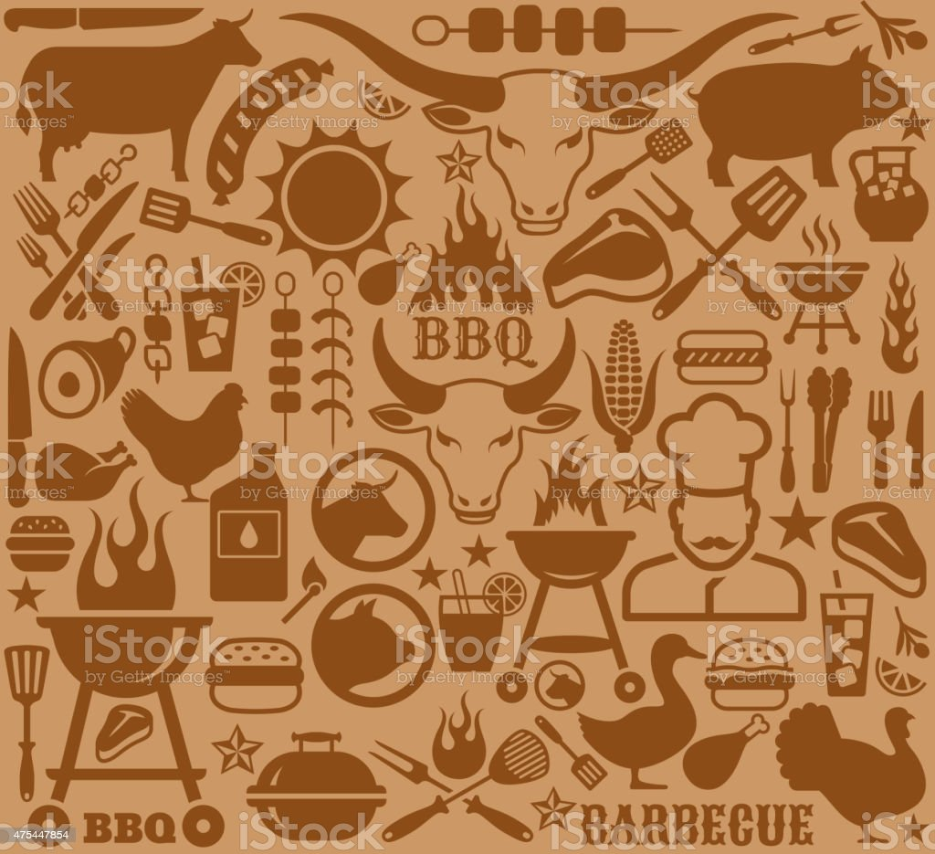 Icons with barbecue symbols vector design collection. vector art illustration