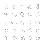 Icons with different fruits.