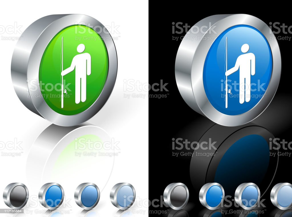 3D icons with fishermen inside the buttons royalty-free stock vector art