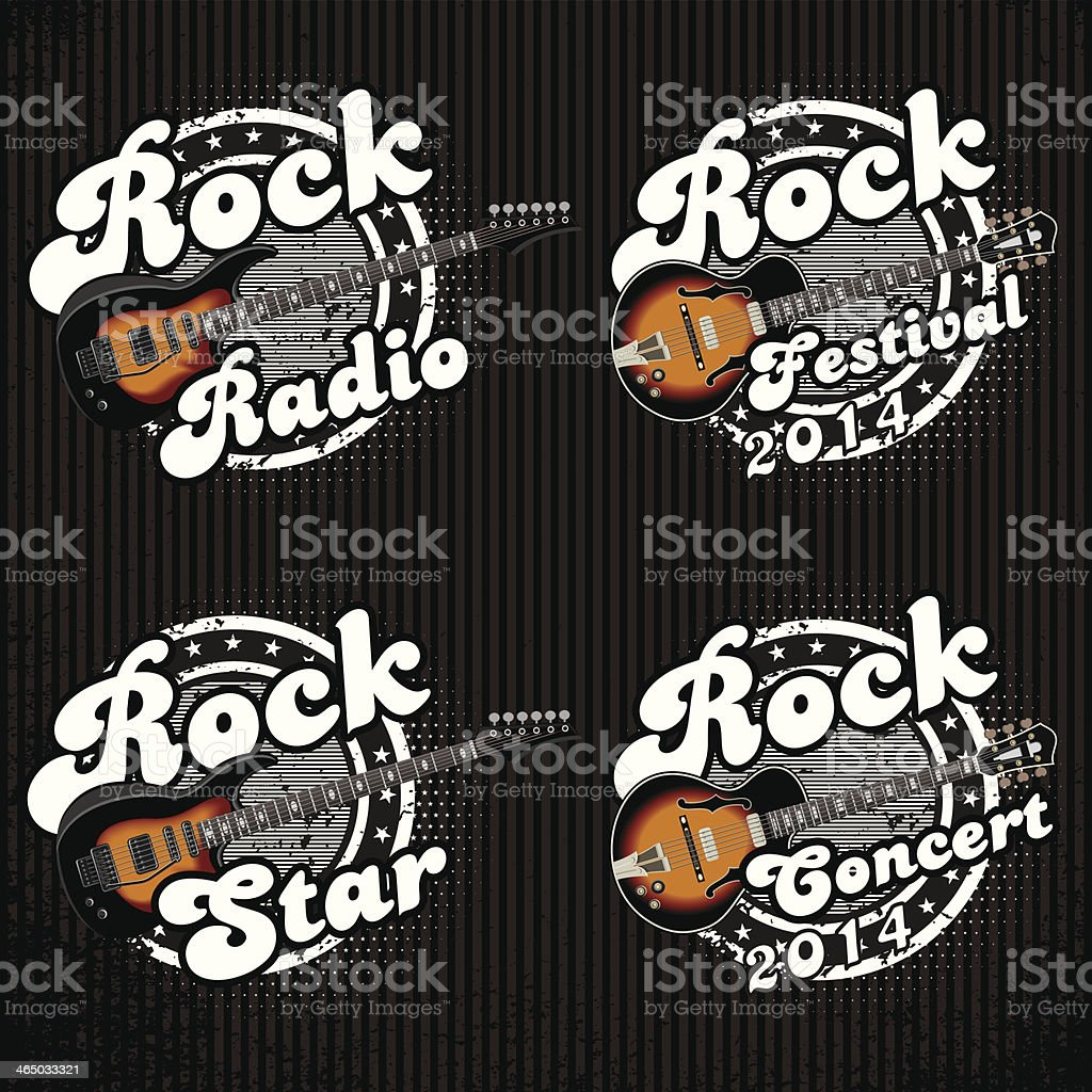 icons with guitars and various inscriptions royalty-free stock vector art