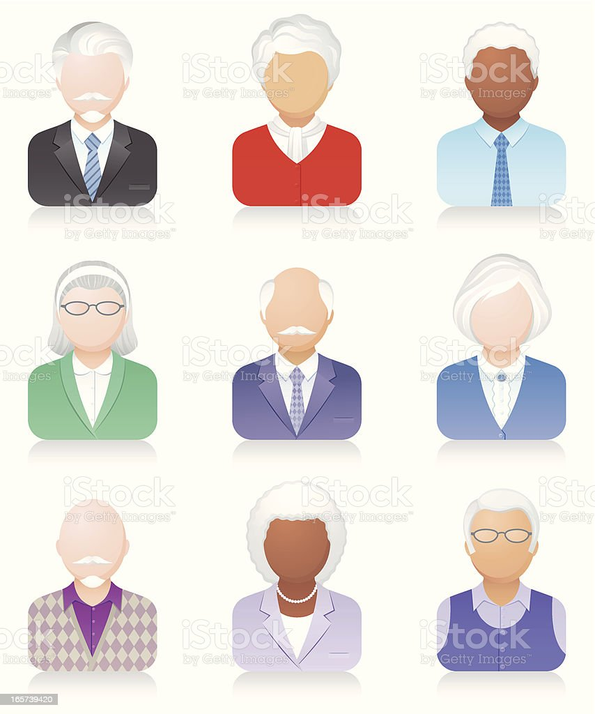 Icons with old people royalty-free stock vector art