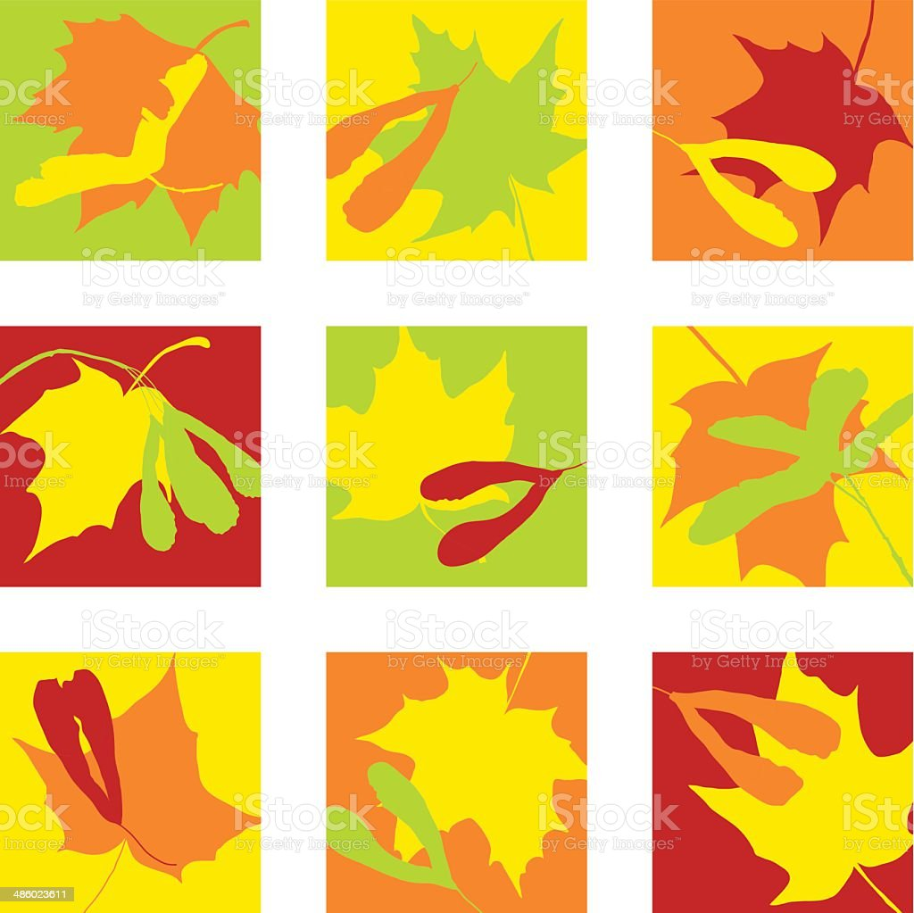 icons with seeds and leaves of maple royalty-free stock vector art
