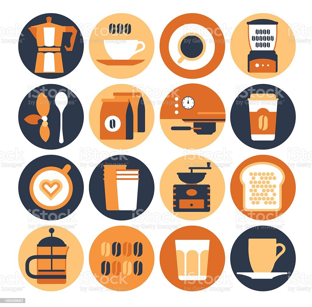 Icons with silhouettes of coffee shop. vector art illustration