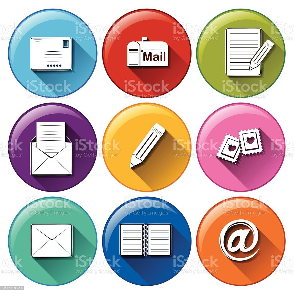 Icons with the different mailing tools vector art illustration
