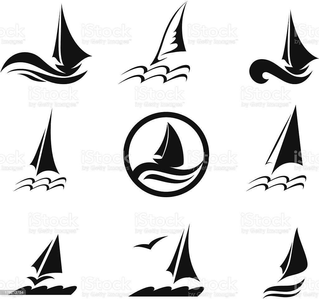 Icons with the image of yachts on a white background royalty-free stock vector art
