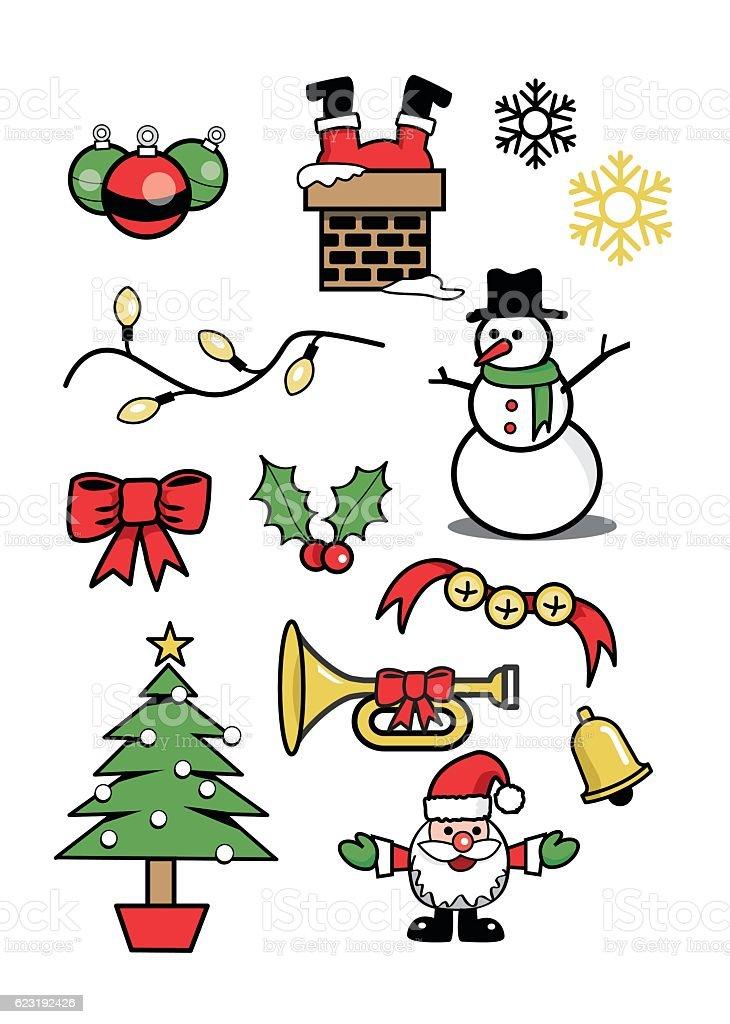 icons xmas  holiday symbols winter 2 vector art illustration
