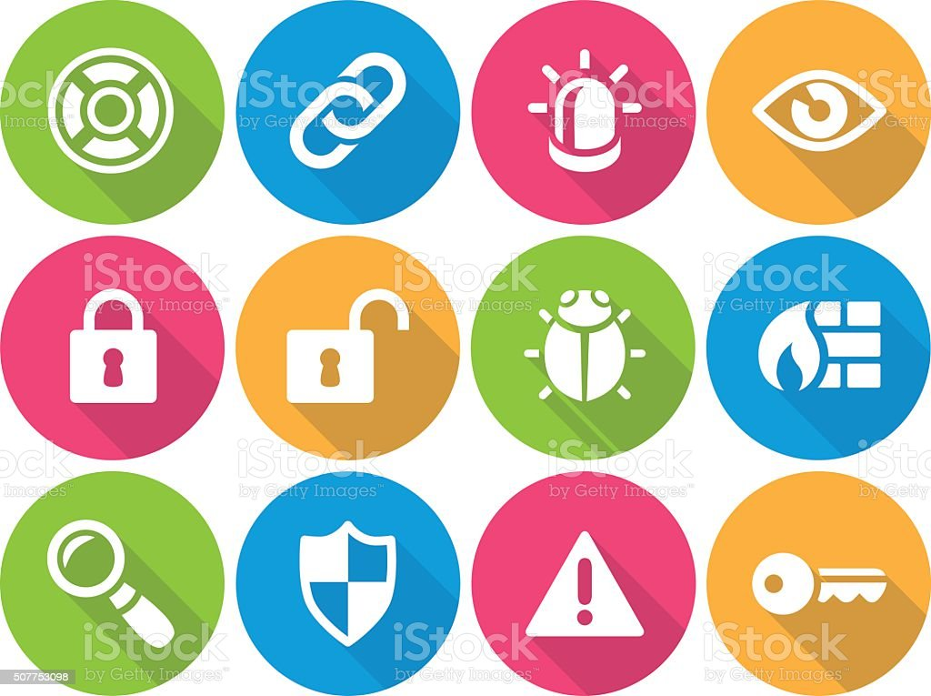 Iconset - flat - Security 01 vector art illustration