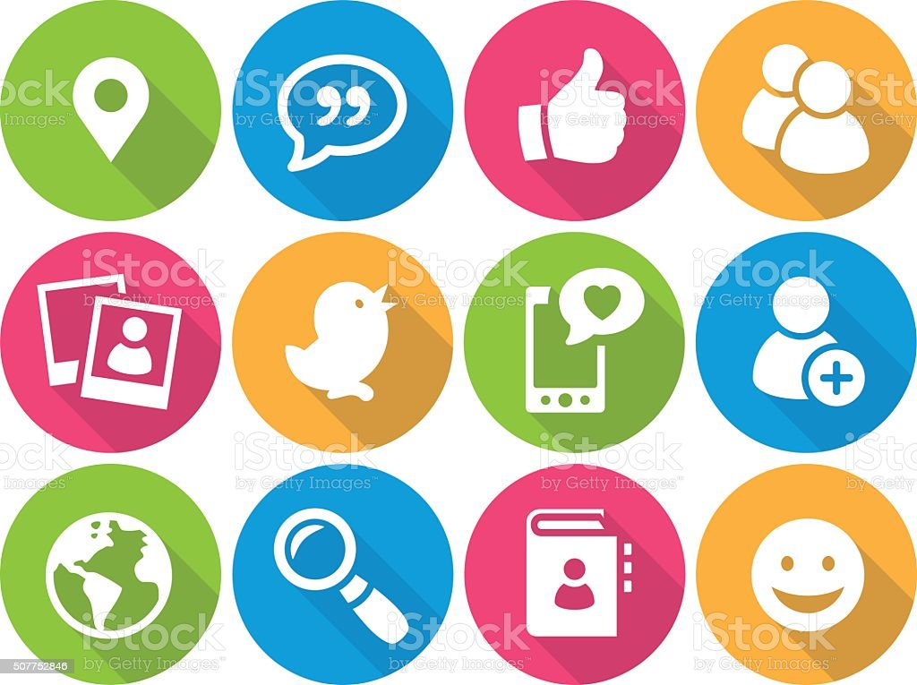 Iconset - flat - Social Media 01 vector art illustration