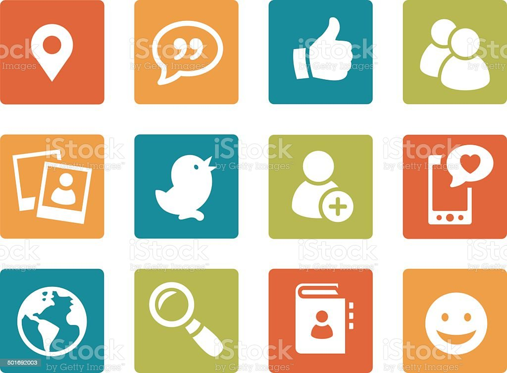 Iconset - vibrant square - Social Media 01 vector art illustration