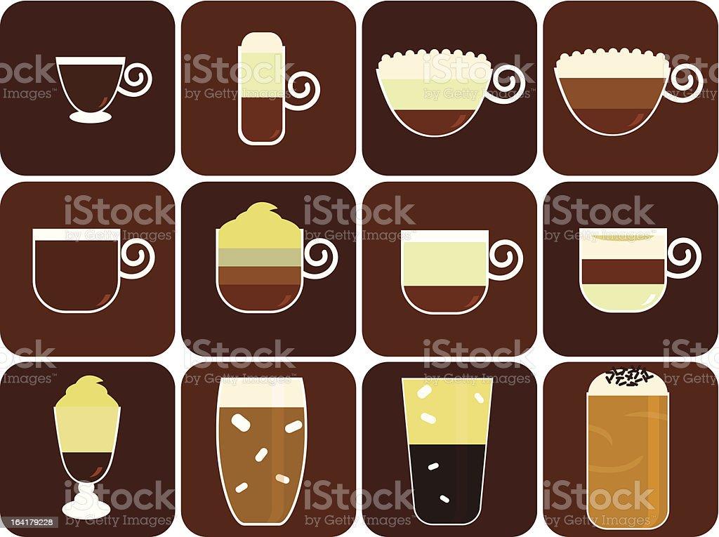 Icons/Logo : Hot Beverages (Coffee, Tea, Chocolate) Set#1 vector art illustration