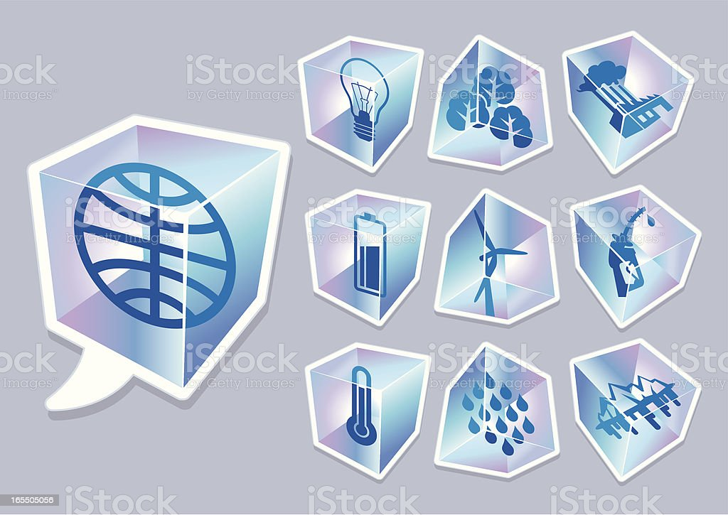 icy blue cubes for global warming royalty-free stock vector art