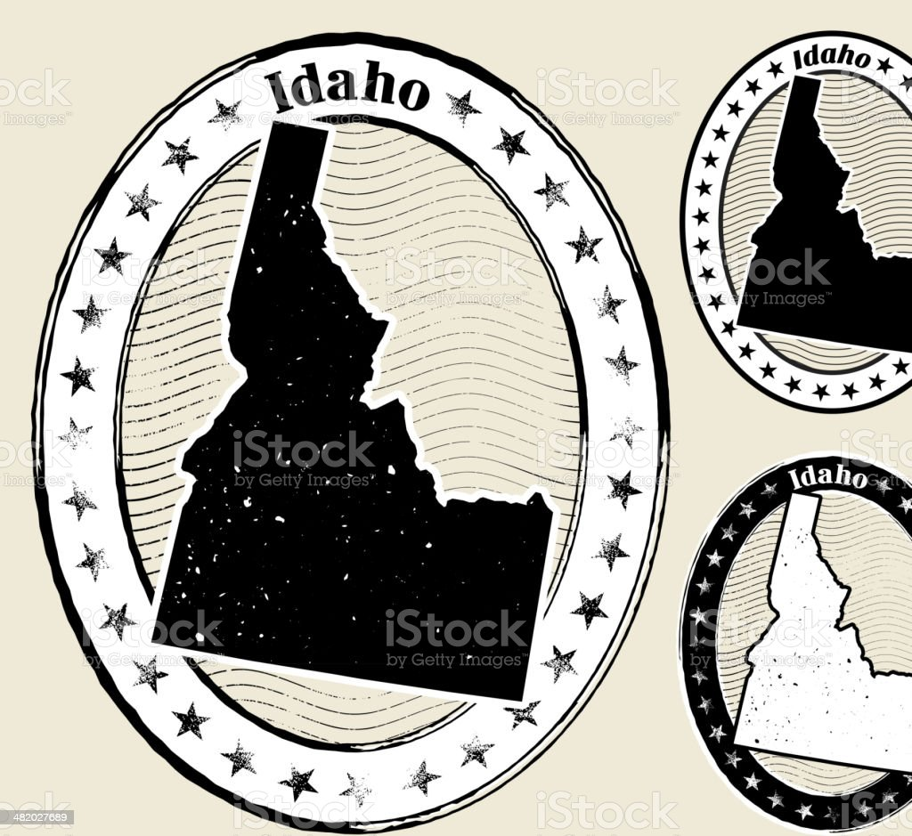 Idaho Grunge Map Black & White Stamp Collection royalty-free stock vector art